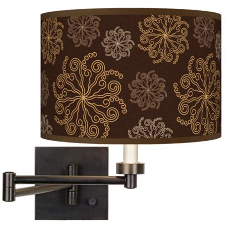 Chocolate Blossom Linen Giclee Plug-In Swing Arm Wall Light