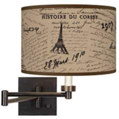 Letters To Paris Linen Plug-In Swing Arm Wall Light