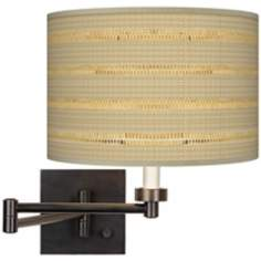 Woven Reed Giclee Shade Plug-In Swing Arm Wall Light