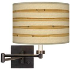 Bamboo Wrap Giclee Shade Plug-In Swing Arm Wall Light