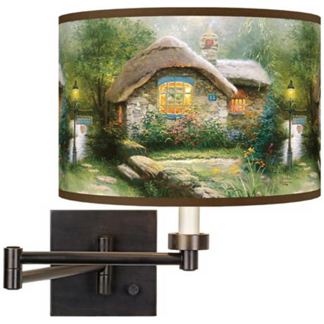 Thomas Kinkade Collector's Cottage Plug-In Swing Arm Wall Light