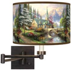 Thomas Kinkade Dogwood Chapel Plug-In Swing Arm Wall Light