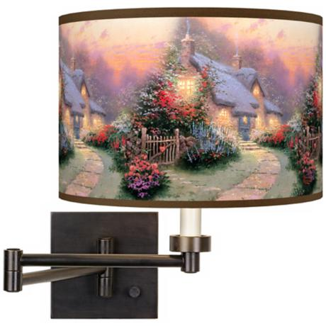 Thomas Kinkade Glory of Evening Plug-In Swing Arm Wall Light
