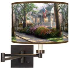 Thomas Kinkade Hometown Pride Plug-In Swing Arm Wall Light