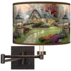 Thomas Kinkade Make A Wish Cottage Plug-In Swing Arm Wall Light