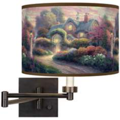 Thomas Kinkade Rosebud Cottage Plug-In Swing Arm Wall Light
