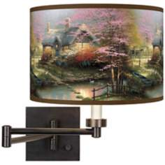 Thomas Kinkade Stepping Stone Cottage Plug-In Swing Arm Wall Lamp