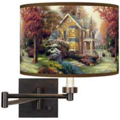 Thomas Kinkade Victorian Autumn Plug-In Swing Arm Wall Light