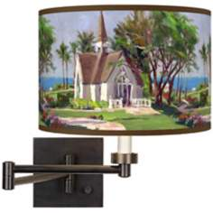 Thomas Kinkade Wailea Chapel Plug-In Swing Arm Wall Light