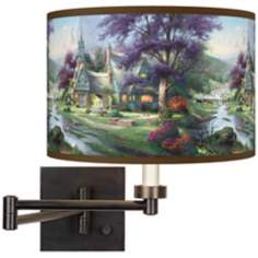 Thomas Kinkade Clocktower Cottage Swing Arm Wall Light