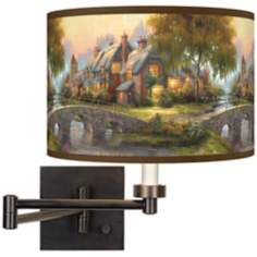 Thomas Kinkade Cobblestone Bridge Swing Arm Wall Light