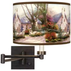 Thomas Kinkade Morning Glory Cottage Swing Arm Wall Light
