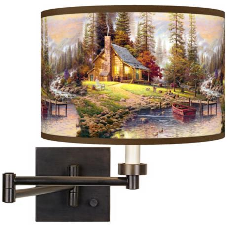 Thomas Kinkade A Peaceful Retreat Swing Arm Wall Light