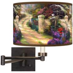 Thomas Kinkade Spring Gate Plug-In Swing Arm Wall Light