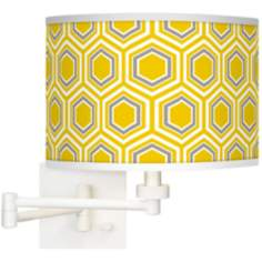 Honeycomb Giclee White Swing Arm Wall Light
