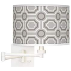 Luxe Tile Giclee White Swing Arm Wall Light