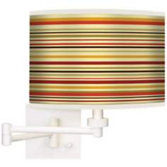 Stacy Garcia Lemongrass Stripe Giclee White Swing Arm Wall Light