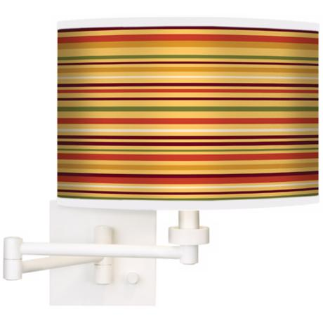 Stacy Garcia Harvest Stripe Giclee White Swing Arm Wall Light