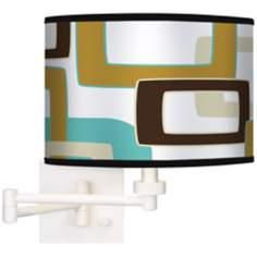 Countess Retro Rectangles Giclee White Swing Arm Wall Light