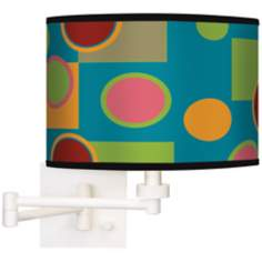 Vibrant Retro Medley Giclee White Swing Arm Wall Light