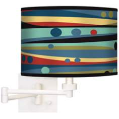Retro Dots & Waves Giclee White Swing Arm Wall Light