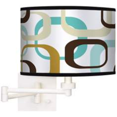Countess Square Scramble Giclee White Swing Arm Wall Light