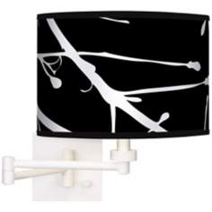 Stacy Garcia Calligraphy Tree Black White Swing Arm Wall Light