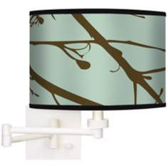 Stacy Garcia Calligraphy Tree Ice Green Swing Arm Wall Light