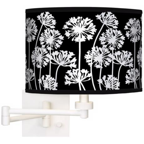 Stacy Garcia African Lily Black Giclee White Swing Arm Wall Light
