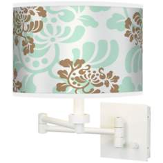 Classic Mist & Taupe Giclee White Swing Arm Wall Light