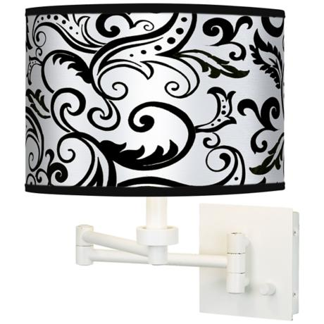 Regency Black Giclee White Swing Arm Wall Light