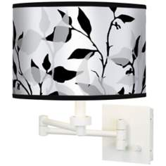 Three-Tone Leaves Giclee White Swing Arm Wall Light