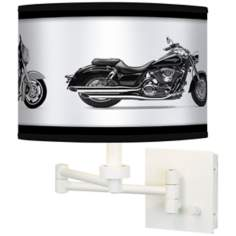 Hit The Road Giclee White Swing Arm Wall Light