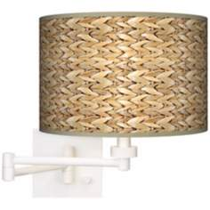 Seagrass White Plug-In Swing Arm Wall Light
