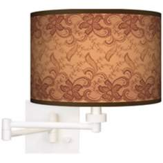 Sepia Lace Giclee White Plug-In Swing Arm Wall Light