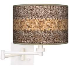 Woven Fundamentals Giclee White Plug-In Swing Arm Wall Light