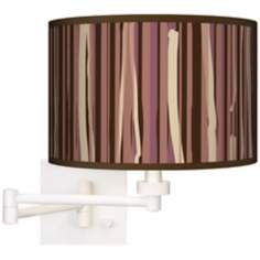 Kalahari Lines White Plug-In Swing Arm Wall Light