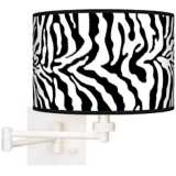 Safari Zebra White Plug-In Swing Arm Wall Light