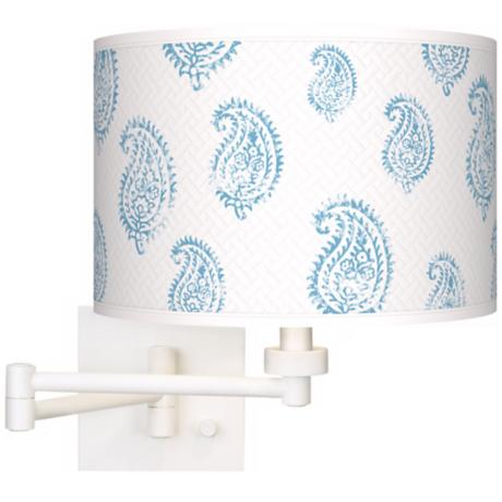 Paisley Snow Giclee Matte White Plug-In Swing Arm Wall Light