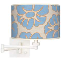 Floral Blue Silhouette Giclee White Plug-In Swing Arm Wall Light