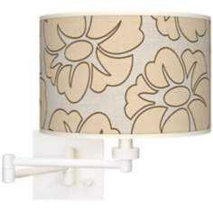Floral Silhouette Giclee White Plug-In Swing Arm Wall Light