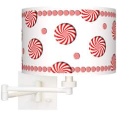 Peppermint Pinwheels Giclee Plug-In Swing Arm Wall Light