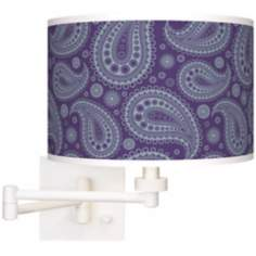 Purple Paisley Linen Giclee White Plug-In Swing Arm Wall Light