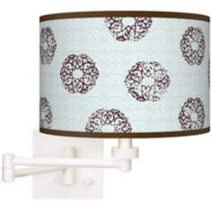 Weathered Medallion Giclee White Plug-In Swing Arm Wall Light