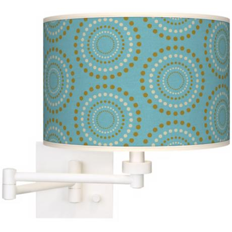 Blue Caliiope Linen Giclee Plug-In Swing Arm Wall Light