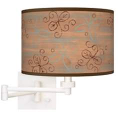 Cedar Lake Giclee Matte White Plug-In Swing Arm Wall Light