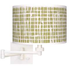 Ecru Screen Linen Giclee White Plug-In Swing Arm Wall Light
