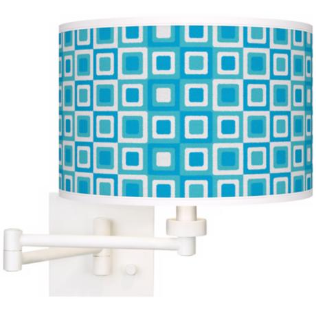 Blue Boxes White Plug-In Swing Arm Wall Light