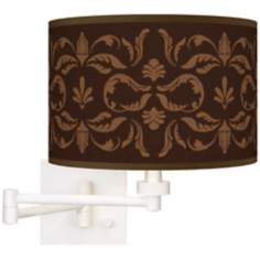 Mocha Flourish Linen Giclee Plug-In Swing Arm Wall Light