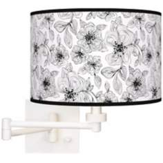 Stacy Garcia Linear Floral Giclee White Swing Arm Wall Light